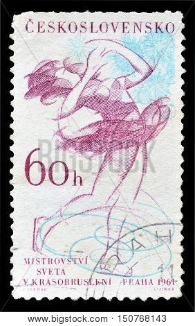 CZECHOSLOVAKIA - CIRCA 1961 : Cancelled postage stamp printed by Czechoslovakia, that shows Ballet dancer.