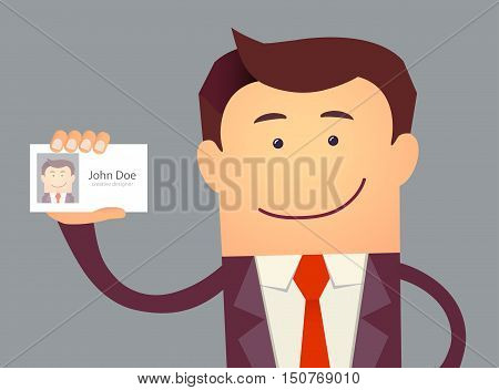 Illustration of businessman holding blank id card in flat style. Vector illustration