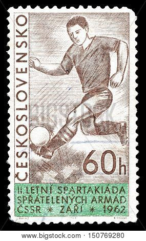 CZECHOSLOVAKIA - CIRCA 1962 : Cancelled postage stamp printed by Czechoslovakia, that shows Football player.