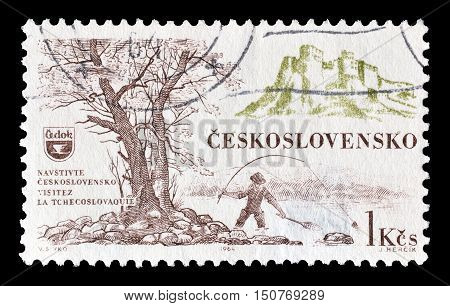 CZECHOSLOVAKIA - CIRCA 1964 : Cancelled postage stamp printed by Czechoslovakia, that shows Fishing.
