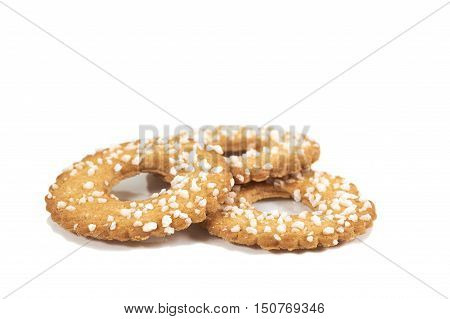 Cookies With Sugar Topping, Isolated Over White