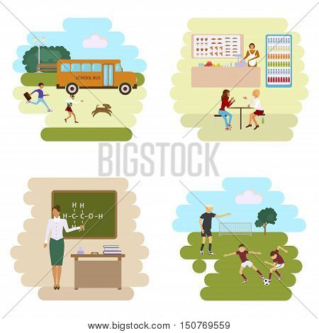 Set of Isolated illustrations of school bus, dining-hall, stadium and class room with students children in flat design. Teachers and pupils in different poses. Isolated in white background. Vector eps10