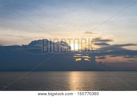Beautiful sunrise abstract lighting on the sea background
