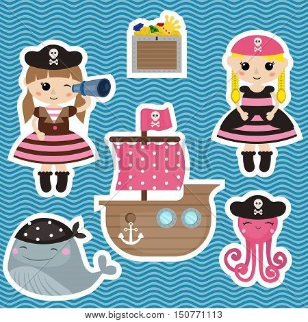 Set of cute girl pirate and pirate objects.