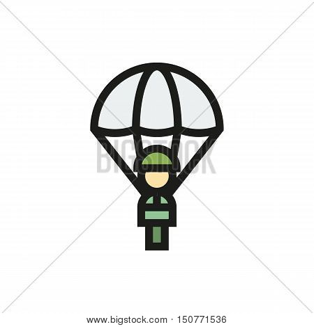 Parachutist icon in simple style on a white background Created For Mobile Web Decor Print Products Applications. Icon isolated. Vector illustration