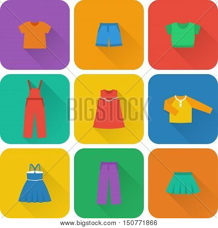 Icon set children's clothes for girls in flat style with long shadow. Collection of clothing. Vector illustration.