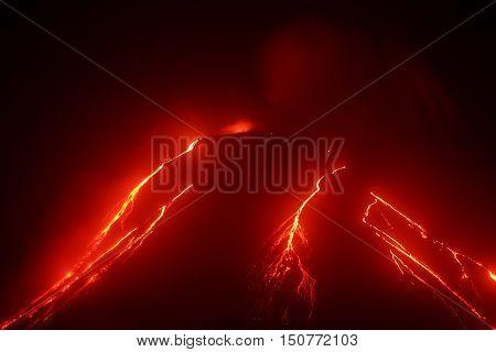 Volcanic landscape of Kamchatka: night view of eruption Klyuchevskaya Sopka current lava flows on the of the volcano. Russian Far East Kamchatka Region Klyuchevskaya Group of Volcanoes.