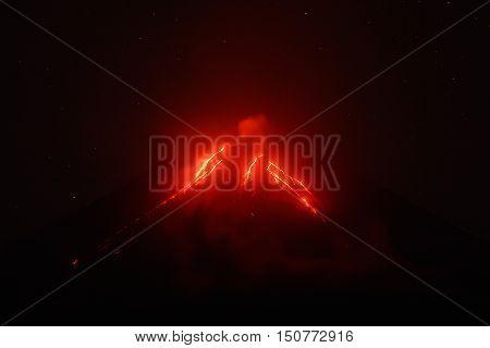 Night view of eruption Klyuchevskoy Volcano current lava flows on of volcano. Eurasia Russian Far East Kamchatka Peninsula Klyuchevskaya Group of Volcanoes.
