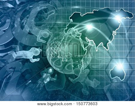 Computer background with mans map and globe in greens and blues.
