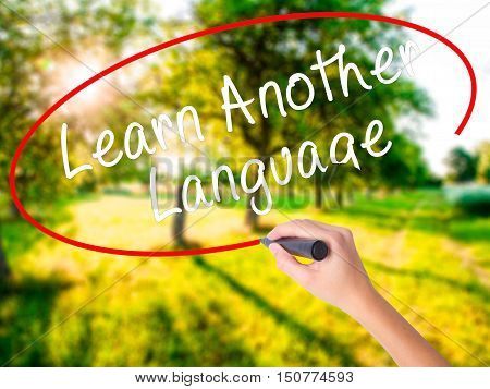Woman Hand Writing Learn Another Language With A Marker Over Transparent Board
