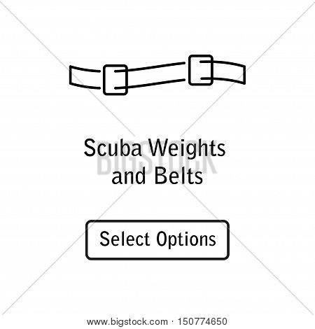 Icon weight and belt scuba diving equipment in a modern style lines. Isolated element for website, online Store or shop. Vector illustration. eps10