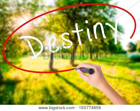Woman Hand Writing Destiny Black Marker On Visual Screen