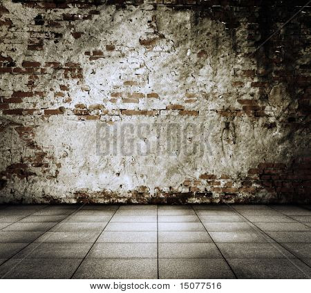 old grunge interior with brick wall