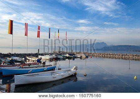 The port of Cisano on Garda Lake (Lago di Garda) a small village of the small town of Bardolino Verona Veneto Italy Europe