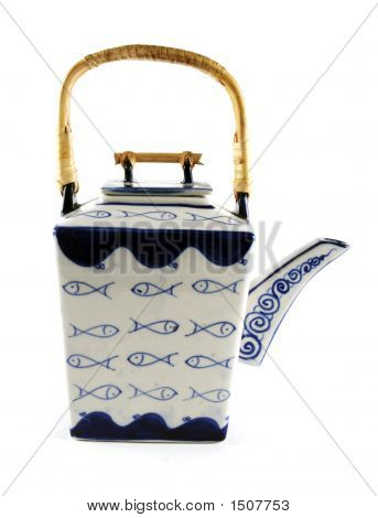 Asian Style Blue And White Teapot