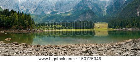 Lago di Fusine (Fusine Lake). Small mountain lake in Julian Alps Tarvisio Friuli Venezia Giulia Italy