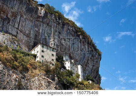 Madonna della Corona the Sanctuary of Our Lady of the crown built on the rock overhanging the Adige Valley. Spiazzi Verona Veneto Italy