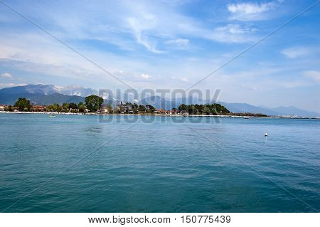 The Mouth of the Magra River in the Italian regions of Tuscany and Liguria. In the background the Apennines and the Apuan Alps