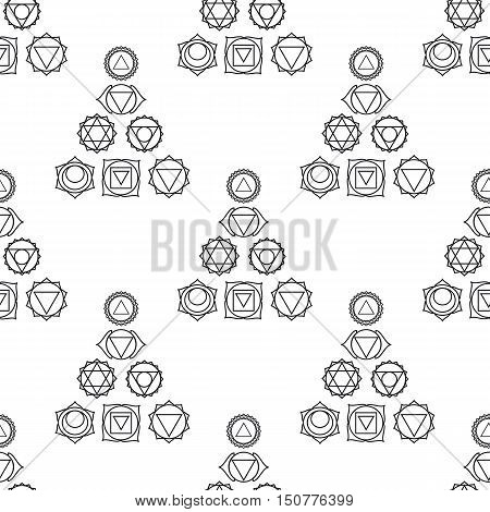 abstract geometric background seven human chakras vector seamless pattern illustration black and white colors.