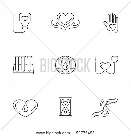 Blood donation icons set for web banners, printed materials, infographics, websites. Creative signs in thin line flat design. Vector illustration eps10