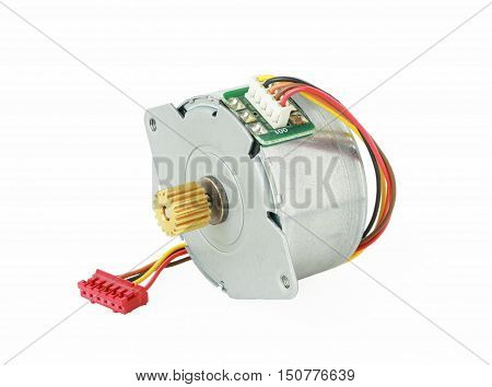 Stepper Motor with cable isolated on white background