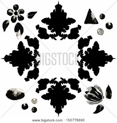 Illustration of a border of black ink blots with ink flowers and stones. Hand made painting.