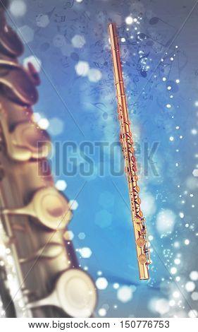 3D illustration flute wind musical instrument on shine music notes background