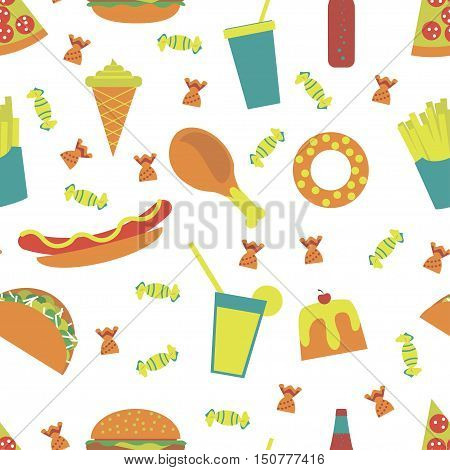 Seamless pattern fast food menu icons pizza french fries hamburger hot dog fried chicken ice cream cone desserts soda cake tacos cocktail candy. Junk food illustration Isolated. Vector eps10