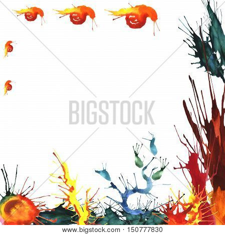 Watercolor illustration of colored seaweeds and corals with a family of fire snails. Hand made painting.