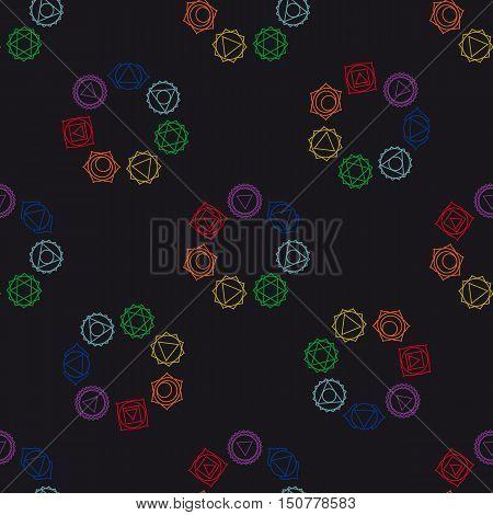 abstract geometric background seven human chakras vector seamless pattern illustration.