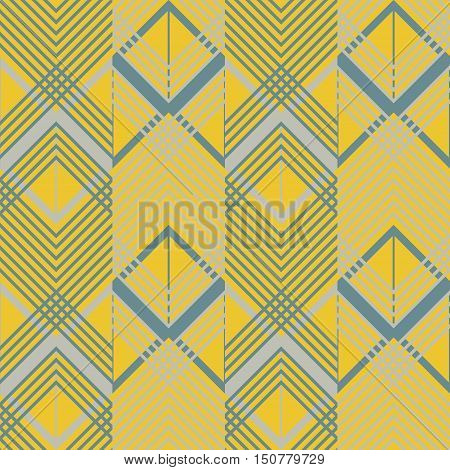 Seamless geometric pattern in pleasant retro color palette. Giant horizontal zigzag and lattice of intersecting chevron lines. Stylish print of wide multicolored vertical stripes
