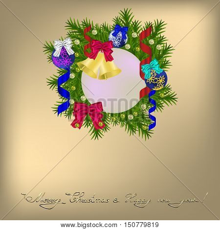 Cristmas greeting with wreath jingle bells balls and bows