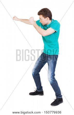 back view of skinny guy funny fights waving his arms and legs. Isolated over white background. Rear view people collection.  backside view of person. Funny guy clumsily boxing. Funny man stands