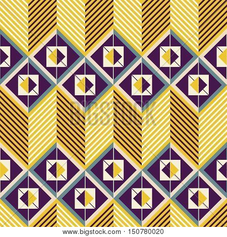 Seamless pattern of horizontal zig zag in retro colors. Squares divided into two triangles placed one inside another and giant zigzag with chevron lines. Vector illustration for creative design