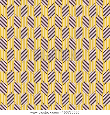 Abstract seamless geometric pattern of triple sticks and diagonal lines. Graphic print in contrasting retro color palette. Vector illustration for fabric, paper and other