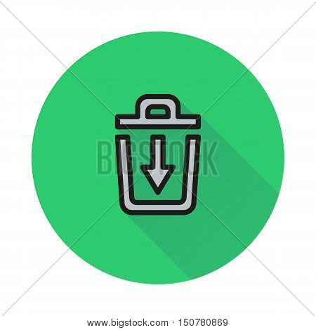 trash bin icon on round background Created For Mobile Web Decor Print Products Applications. Icon isolated. Vector illustration