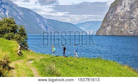 Family Hiking along the Aurlandsfjord Hordaland Norway