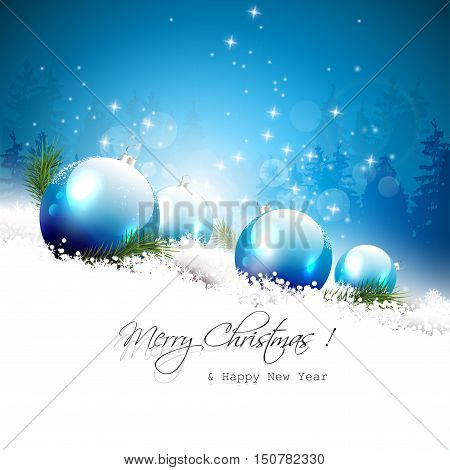 Christmas greeting card with blue baubles and branches in the snow
