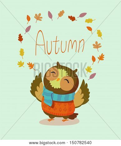 Seasons greeting card with hipster animal. Flat design illustration in vector. Autumn animal concept. For print, postcard, web, social media and t-shirt design