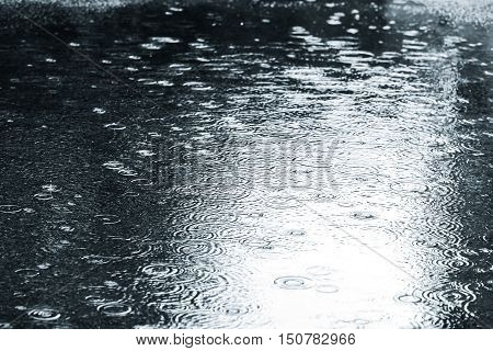 Wet Asphalt With Drops On Water Puddle During Rainy Weather