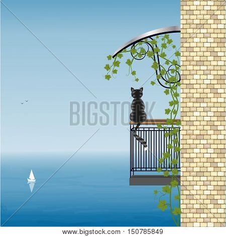 Cat on the balcony of the house admires the sea view, vector illustration
