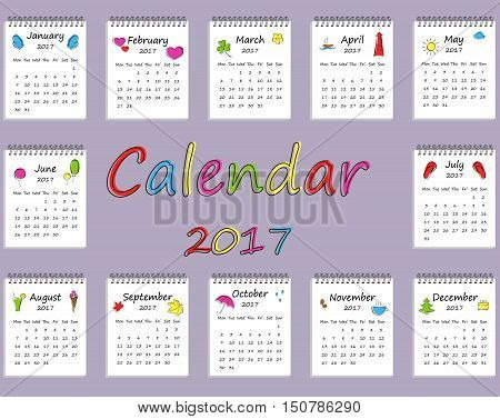 Calendar for two thousand seventeenth year. Every month separately.