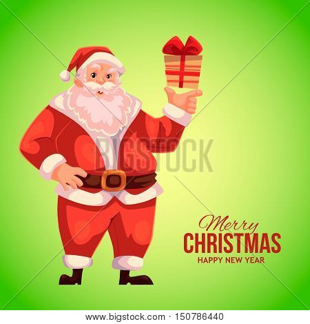 Cartoon style Santa Claus holding a small gift box, Christmas vector greeting green card. Full length portrait of Santa holding a little present box, greeting card template for Christmas eve