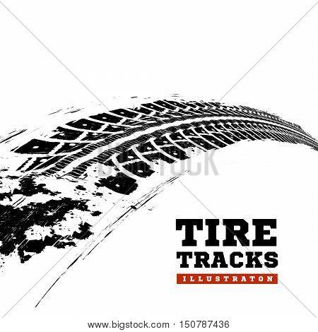 Tire tracks. Vector illustration on white background
