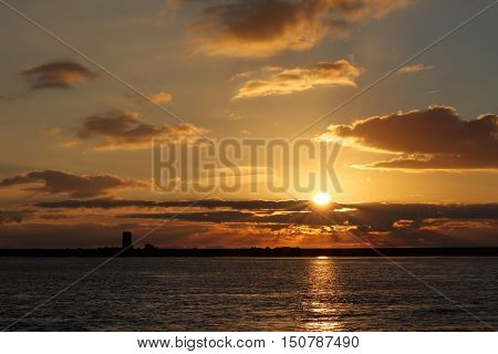 The Sunrise on Pellworm in Schleswig Holstein