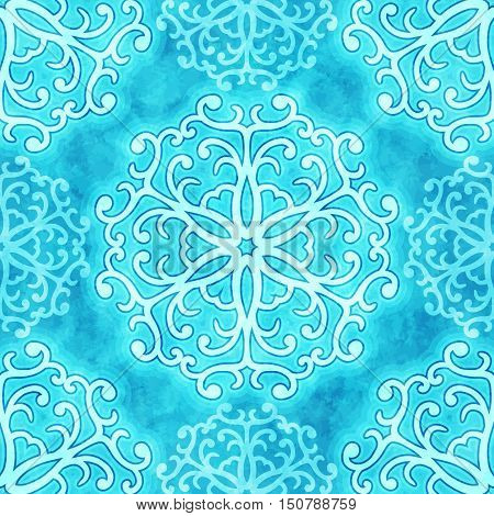 Vector christmas seamless pattern with curly snowflakes on blue watercolor texture blurred background