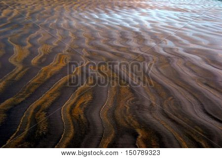 Abstract Patterns in Wet Sand: Made by the retreating tide on an ocean beach shoreline.