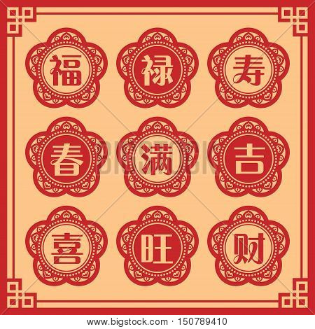 Set of chinese new year typeface in vintage design / Chinese typography set. ( translation: blessing, emolument, longevity, spring, full / enough, lucky, happiness, prosperous, property / wealth.)