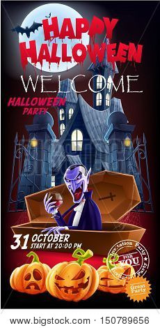 Halloween. Invitation flyer for a party. The entrance to the castle and count Dracula in the foreground. Vector illustration