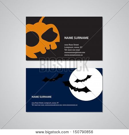 set of two Halloween business cards - Canada and USA standard 35 x 2 inches or 889 x 508 millimeters